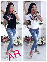 Женская стильная футболка с нашивкой (2 цвета)