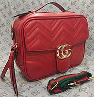 Сумка-клатч Gucci Гуччи с цветной ручкой красная, фото 1