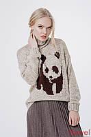 Теплый свитер Панда бежевый, размеры 46-52