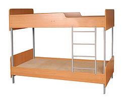 Кровать двухярусная на металлическом каркасе, без матраса в школу, для школы