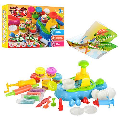 Детский Набор для творчества Пластилин MK 0433 кексы 10 цветов, спец. пресс, инструм, формочки