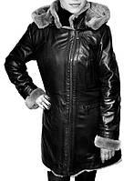 Натуральная дубленка женская классического черного цвета, фото 1