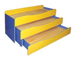 Кровать детская 3-ярусная, без матраса в детский сад, школу.