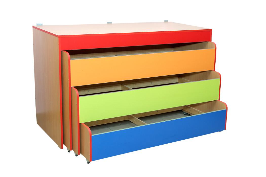 Кровать детская 3-ярусная с крышкой, без матраса в детский сад, школу.