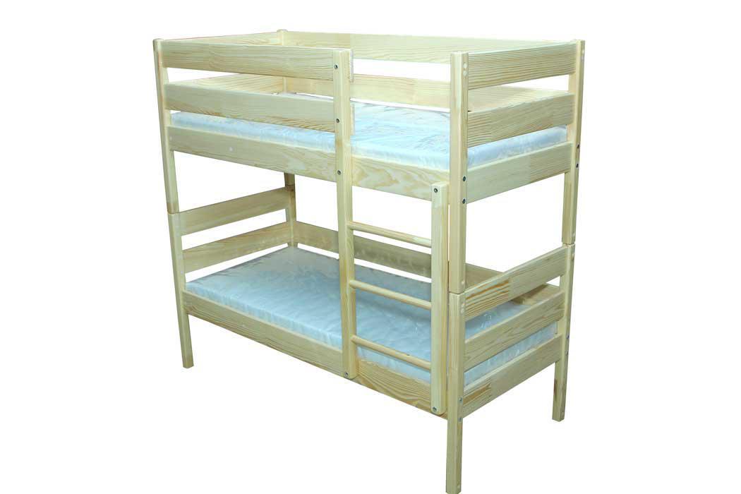 Кровать 2-ярусная, из натуральной древесины, без матраса