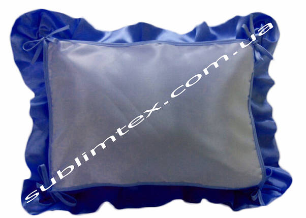 Подушка, натуральный наполнитель, с накладной вставкой на завязках для печати,размер 40х50см., цвет синий, фото 2