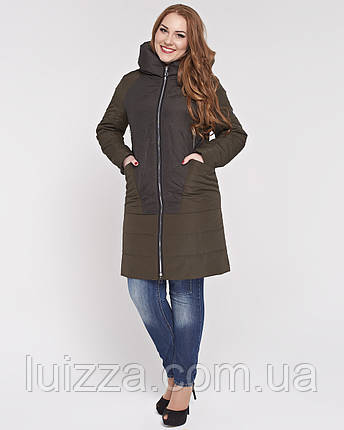 Женская куртка из комбинированной ткани 48-58р Хаки 58, фото 2