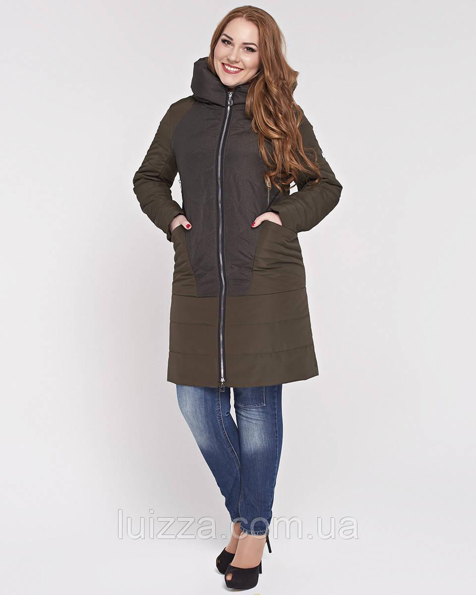 Женская куртка из комбинированной ткани 48-58р Хаки 58