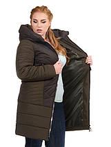 Женская куртка из комбинированной ткани 48-58р Хаки, фото 2