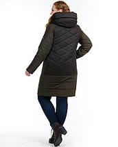 Женская куртка из комбинированной ткани 48-58р Хаки, фото 3