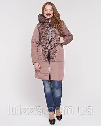 Женская куртка из комбинированной ткани 48-58р персик 48, фото 2