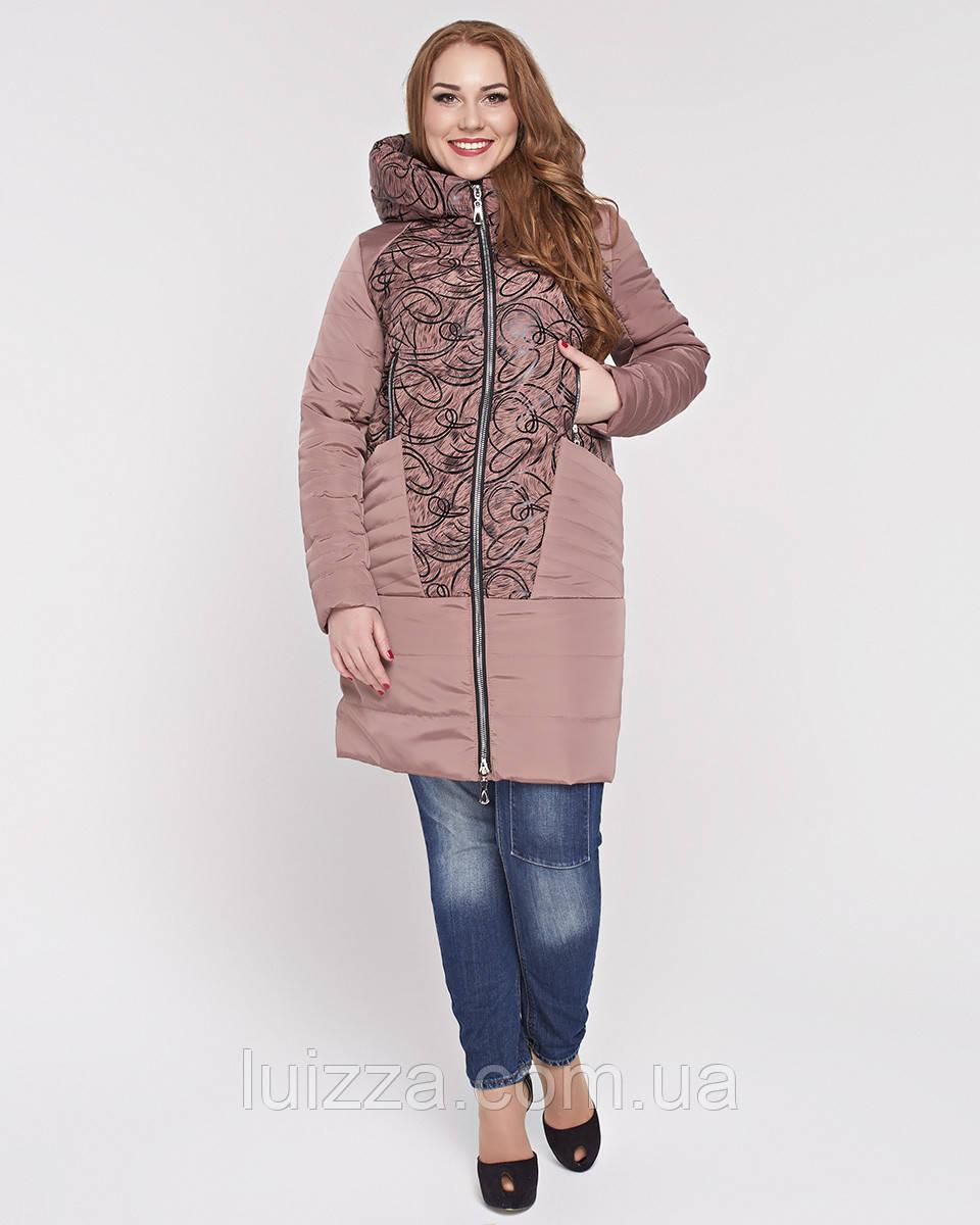 Женская куртка из комбинированной ткани 48-58р персик 48