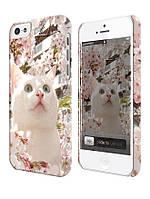 Чехол для iPhone 4/4s/5/5s/5с, Кошка в цветах