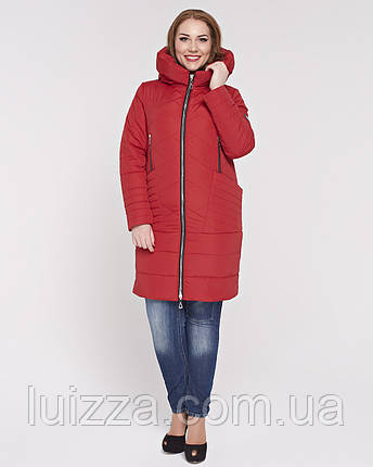 Женская куртка из комбинированной ткани 48-58р красная, фото 2