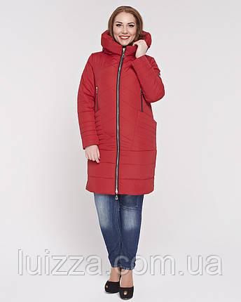 Женская куртка из комбинированной ткани 48-58р красная 58, фото 2