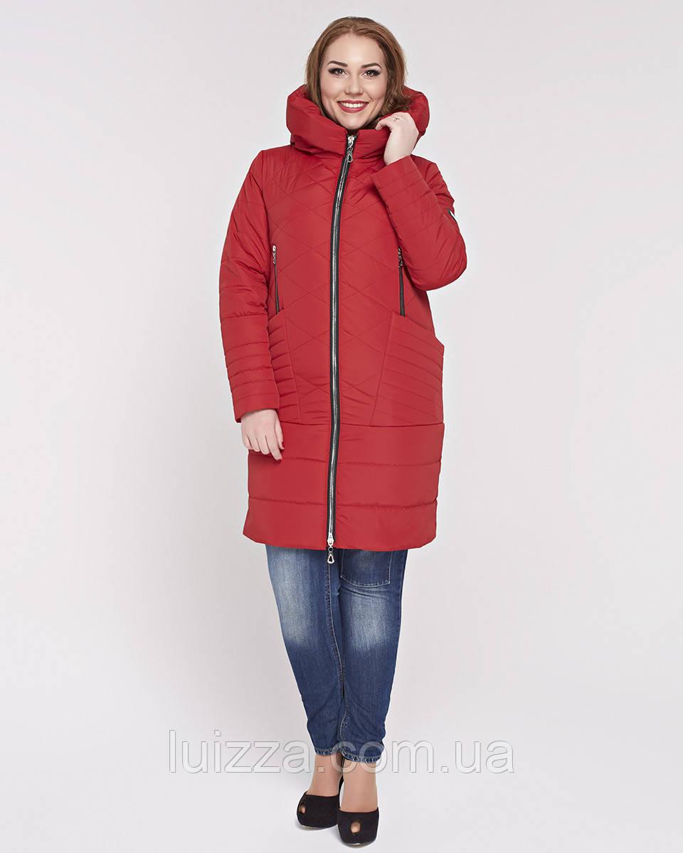 Женская куртка из комбинированной ткани 48-58р красная 58