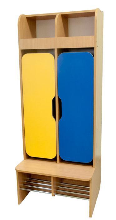 Шкаф детский 2-местный для раздевалки в детский сад, школу.
