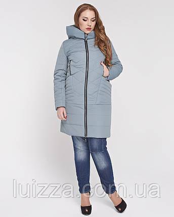 Женская куртка из комбинированной ткани 48-58р полынь 56, фото 2