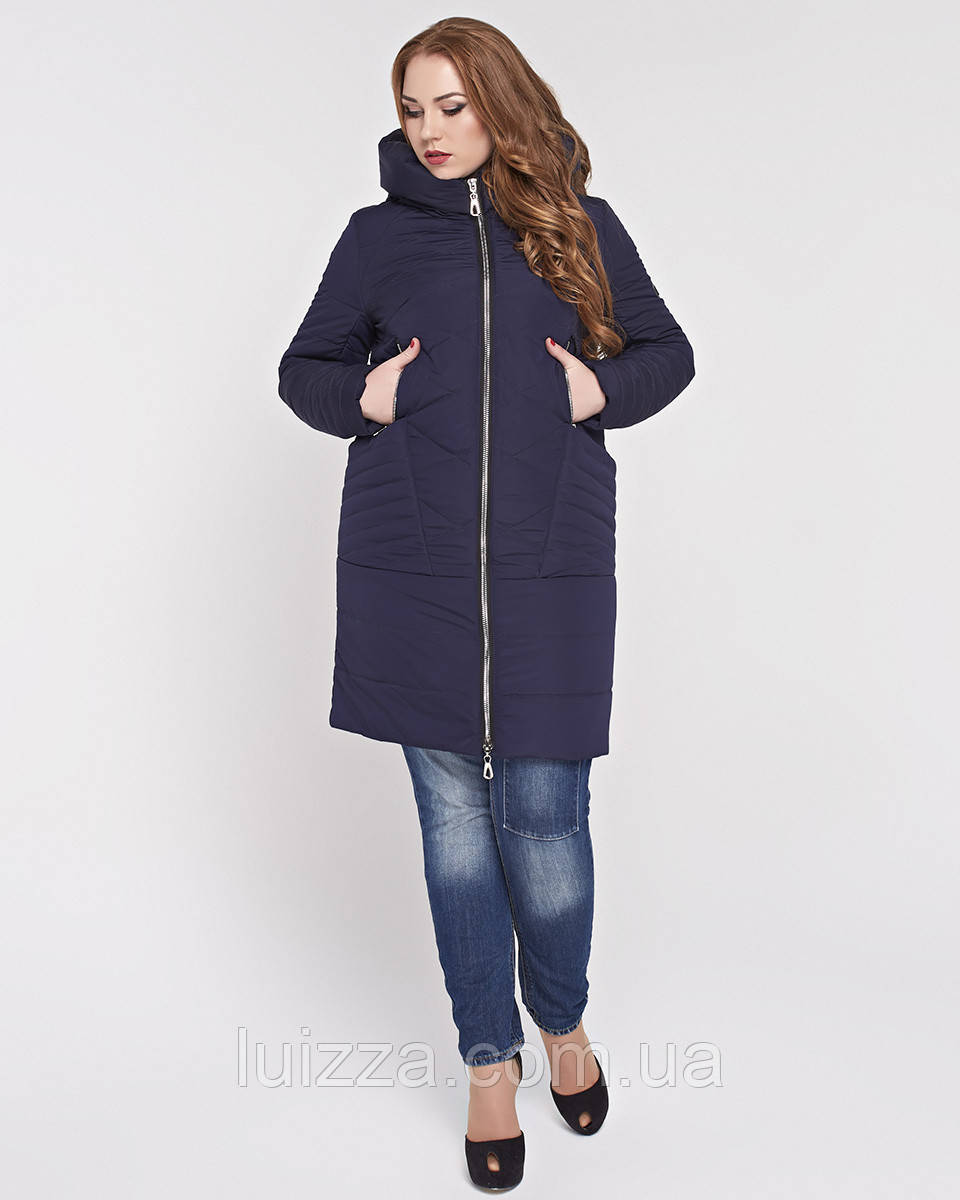Женская куртка из комбинированной ткани 48-58р синяя 56
