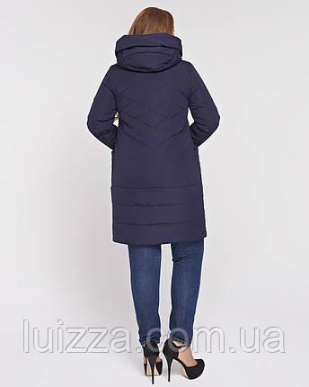 Женская куртка из комбинированной ткани 48-58р синяя, фото 2