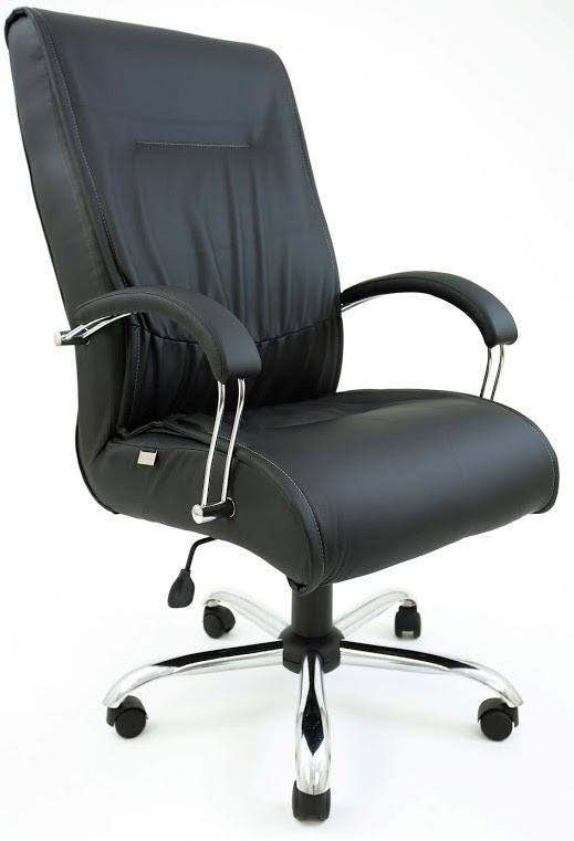 Кресло Клиффорд хром, кожзам черный