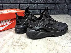 Мужские кроссовки Nike Huarache черные топ реплика, фото 3