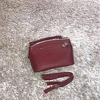 Брендовая маленькая сумка красная натуральная кожа