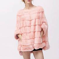 Шубка - пончо норковая розовая, фото 1