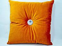Декоративная диванная подушка, велюр с камнями 40 х 40 см.