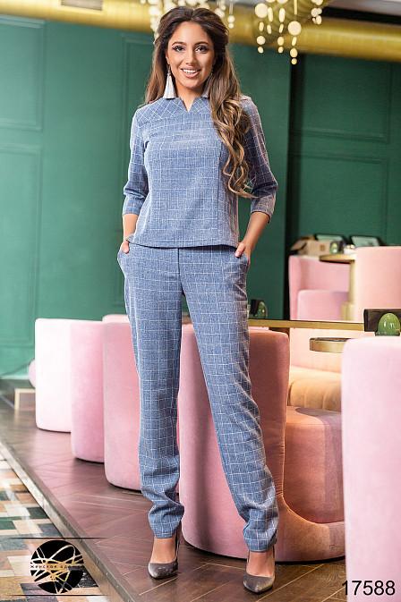 2b4f38bb3d3 Женский брючный костюм в клетку синего цвета. Модель 17588. Размеры 42