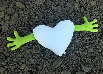 Подушка плюшевая сердце обнимашка для сублимации цвет салатовый