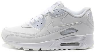 Мужские кроссовки Nike Air Max 90 Leather All White, найк аир макс 90