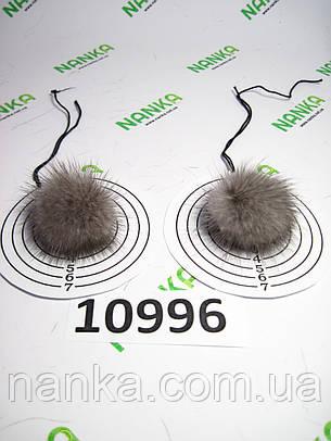 Меховой помпон Норка, Серый, 4 см, пара 10996, фото 2