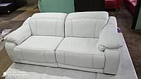 Кожаный диван + пуфик