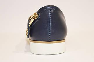 Балетки синие кожаные Favi 203/2, фото 2