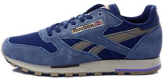 Мужские кроссовки Reebok Classic Leather Utility Blue Brown, рибок классик