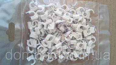 Клипсы (скобы)№7 с гвоздиком белые для кабеля