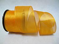 Лента с проволочным краем 4 см Оранжевая