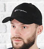 Бейсболка кепка мужская брендовая с логотипом черная весенняя летняя Champion