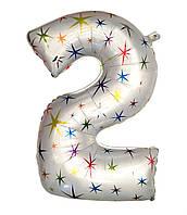 """Шар фольгированный звёзды цифра """"2"""" , 100 см."""