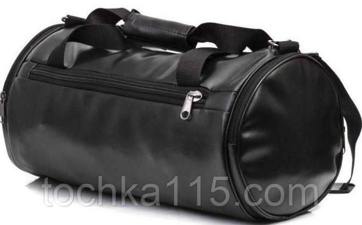 Cпортивная кожаная сумка бочка черный