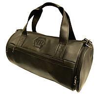 Кожаная сумка бочка Philipp Plein, черная мужская сумка PP, женская сумка для тренировок Филипп Плейн   реплика, фото 1