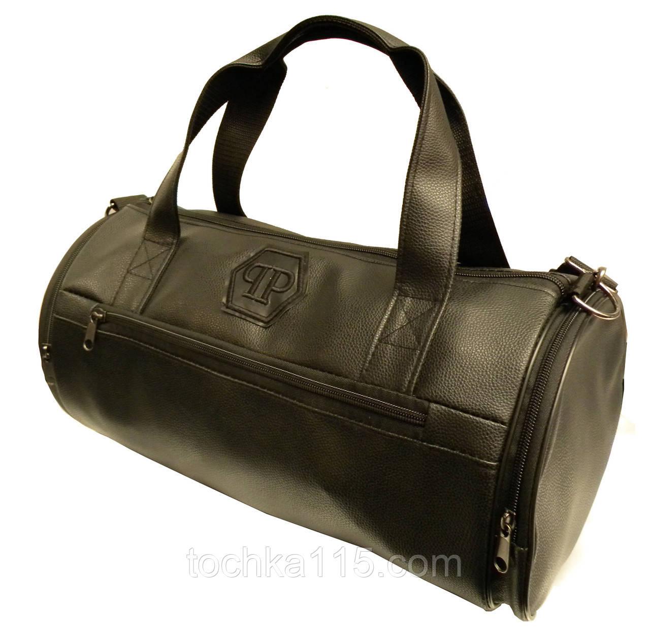 a9a61e69 Кожаная сумка бочка Philipp Plein, черная мужская сумка PP, женская сумка  для тренировок Филипп