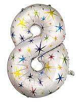 """Шар фольгированный звёзды цифра """"8"""" , 100 см."""