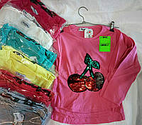 Батник для девочки на 1-4 лет красного,персик,малина,серого,бирюзового цвета вишня перевертыш оптом