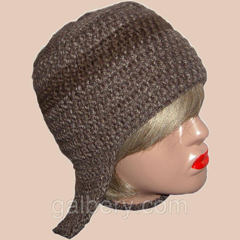 Женская вязаная зимняя шапка-ушанка коричневого цвета - Интернет-магазин