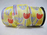 Лента с проволочным краем 4 см Тюльпаны