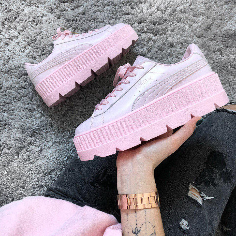 separation shoes 27778 4733c Кроссовки Puma x Fenty Cleated Creeper Platform Pink Leather . Живое фото  (Реплика ААА+)