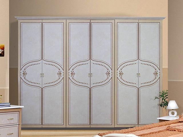 Шафа (шкаф) з ДСП/МДФ в спальню/вітальню/дитячу Мартіна 6Д без дзеркал біла Миро-Марк