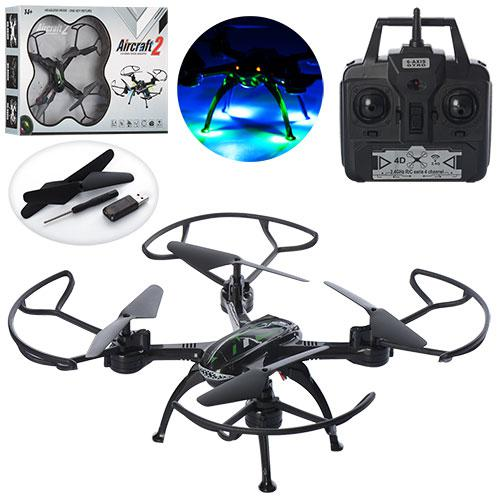 Квадрокоптер SG600 с подсветкой, Радиоуправляемый Дрон 2,4 gz Led 4 винта drone  черный , 34х34 см .